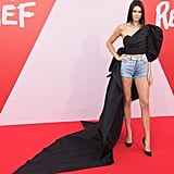 Kendall Jenner wore an Alexander Vauthier Haute Couture top and denim shorts with a Swarovski crystal waistband in 2017.