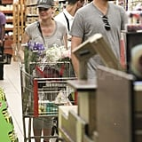 Diane Kruger and Joshua Jackson check out at Whole Foods.