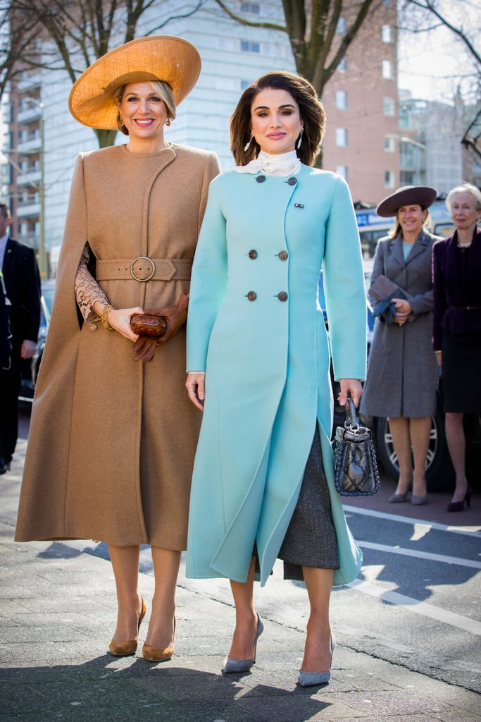 Queen Rania Wearing Light Blue Coat