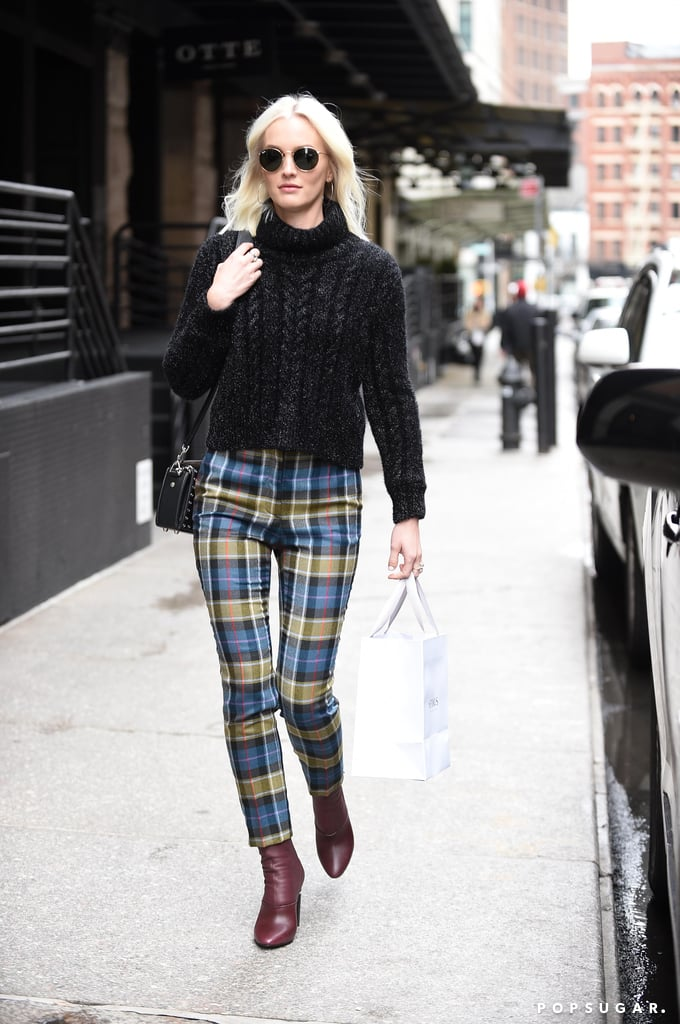 Leighton Meester Wearing Plaid Trousers