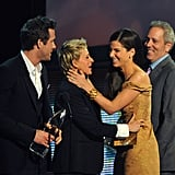 Sandra Bullock and Ryan Reynolds presented Ellen DeGeneres with a 2010 People's Choice Award in LA.