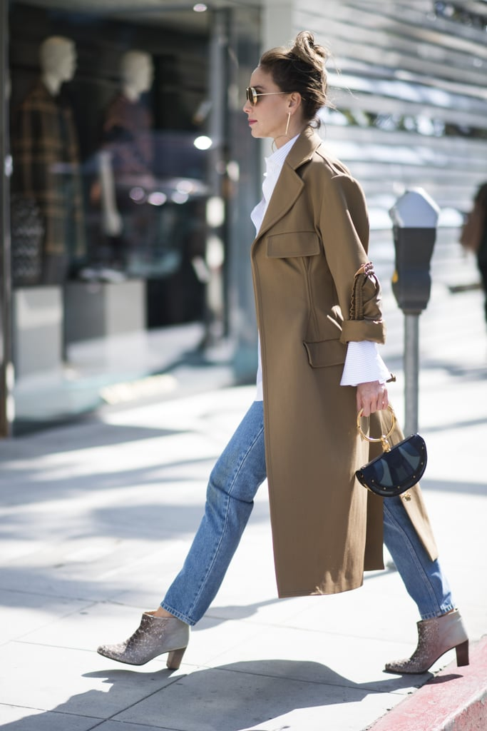 Simply, with a classic trench and a white button-down