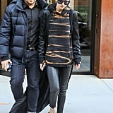 Gigi Hadid Wore a Printed Pullover With Leather Jacket and Pants