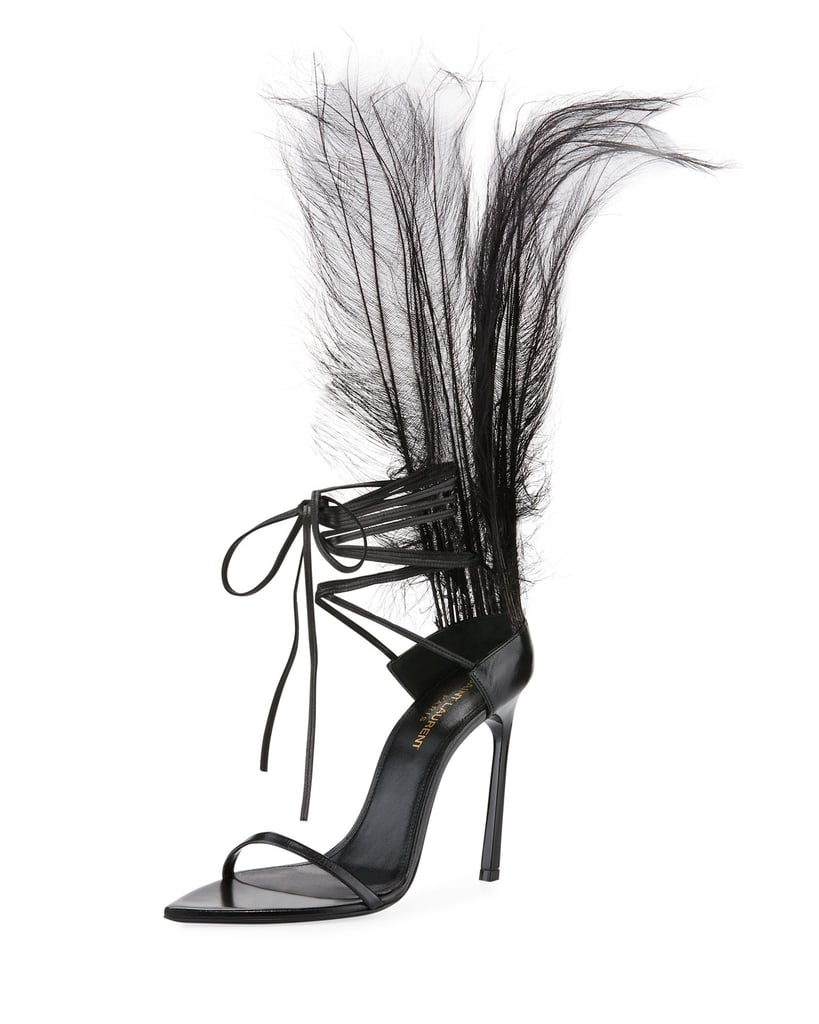 Beyoncé's Exact Shoes: Saint Laurent Iris Patent Sandal With Feathers