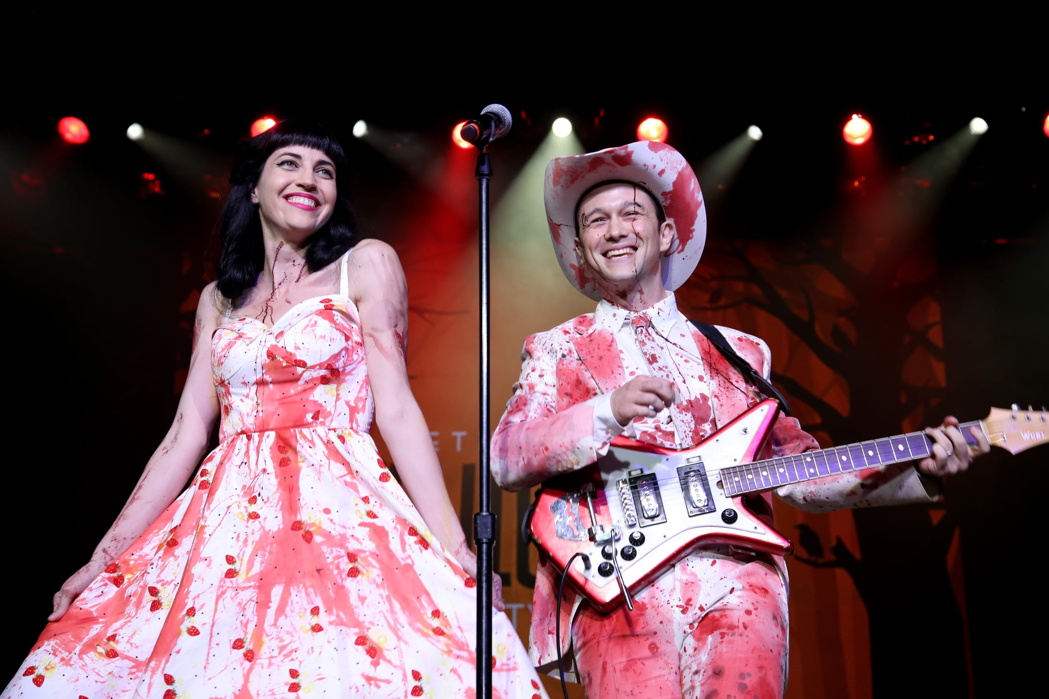 LOS ANGELES, CA - OCTOBER 15:  Actor Joseph Gordon-Levitt (R) and Tasha McCauley perform onstage during Hilarity for Charity's 5th Annual Los Angeles Variety Show: Seth Rogen's Halloween at Hollywood Palladium on October 15, 2016 in Los Angeles, California.  (Photo by Randy Shropshire/Getty Images)