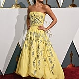 Alicia wore a custom Louis Vuitton ballgown that looked just like Belle's from Beauty and the Beast to the Oscars.