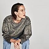 Zara Contrasting Metallic Sweatshirt