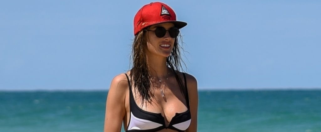 Alessandra Ambrosio Black and White Bikini in Brazil 2018
