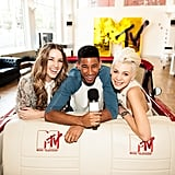 Jules Sebastian and Kate Peck, MTV's newest VJs, posed at a photo call with Keiynan Lonsdale at MTV's Sydney headquarters on June 20.