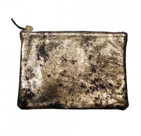 Clare Vivier's Black and Gold Flat Clutch ($143) has such a cool rock and roll vibe that I can't wait to carry it out for nights out on the town with an LBD and heels.  — BS