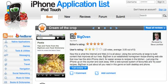 Website of the Day: iPhone Application List