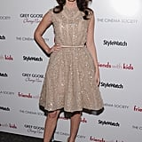 Megan Fox had retro appeal in a sparkly nude cocktail dress with a full skirt.