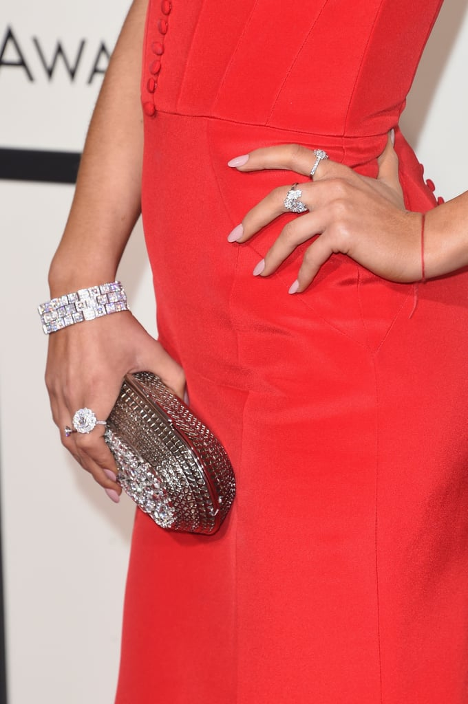Wearing Niwaka jewels amd a metallic clutch.