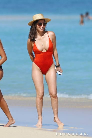 Olivia Munn Red One Piece Swimsuit