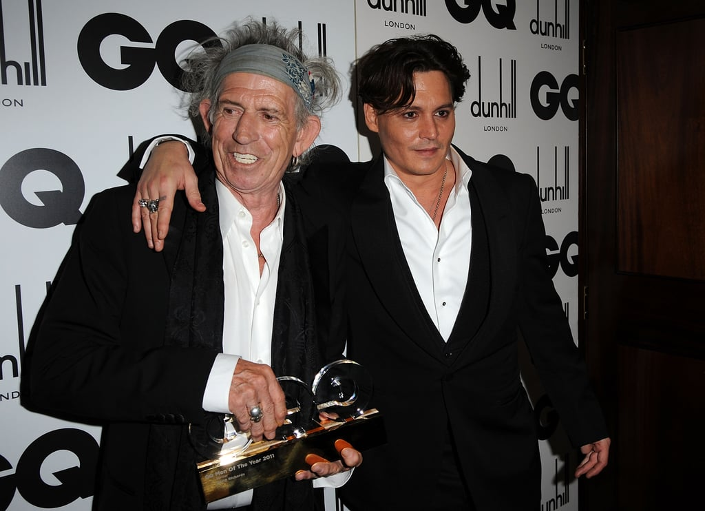"Johnny Depp attended the GQ Men of the Year Awards in London last night. He was on hand to pay homage to his buddy Keith Richards, who won the writer of the year honor. In accepting his award, Keith revealed that his memoir Life is being turned into a movie. On just who would play him in a big-screen version, Keith said, ""There are feelers out at the minute — I'm in no rush right at the moment. Also, how are they going to find me? The idea of a succession of Keith Richards coming down is horrifying."" Johnny has already immortalized Keith on film, since the actor's portrayal of Captain Jack Sparrow in Pirates of the Caribbean is famously based on the rock legend. The evening was Johnny's latest stint out on the town. He spent Friday night at a pub, reportedly drinking beer from a champagne glass as he watched the band The Tricks play."