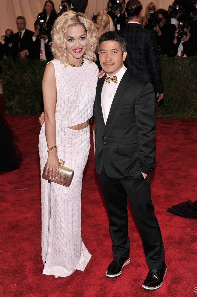 A slash at the waist gave Rita Ora's Thakoon dress some punk cred. The designer, accompanying the singer, took his own fashion stand, too, picking funky shoes for his tux.