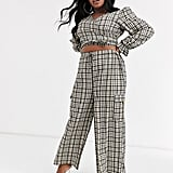 New Girl Order Curve Wrap Crop Top With Puff Sleeves and High Waist Drawstring Pants