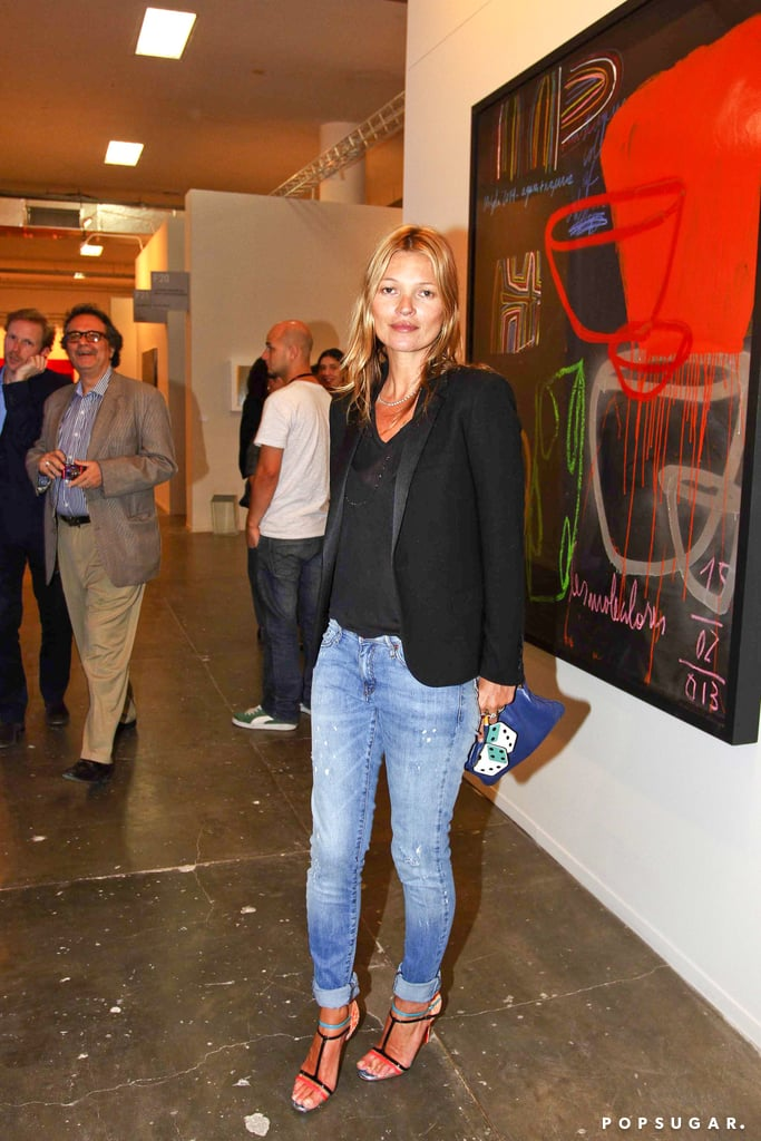 Kate Moss posed for pictures at the Sao Paulo Bienal during the city's International Art Fair.