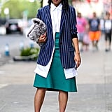 Margaret Zhang's outfit is a study in unexpected colours, textures, and proportions.