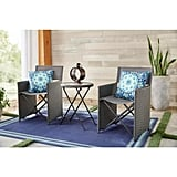 Hampton Bay Montrose 3-Piece Grey Folding Wave Outdoor Patio Glass Bistro Set