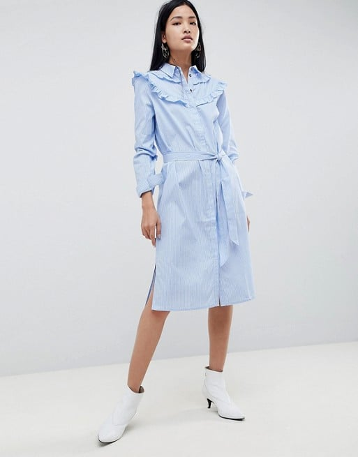 414bc996d09 Gestuz Tam Stripe Shirt Dress With Ruffle Details