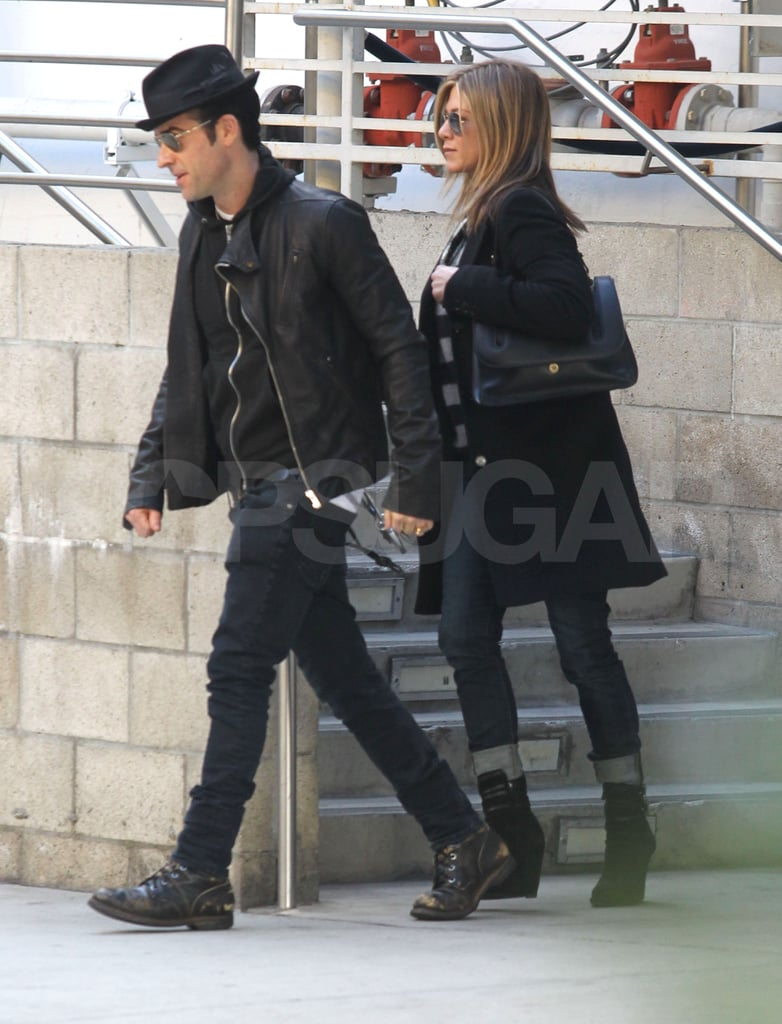 Jennifer Aniston and Justin Theroux held hands yesterday when they walked out of a movie theater in LA. Both Jen and Justin have been laying low on the West Coast for a few weeks, ever since they wrapped up a holiday vacation in Colorado. New Year's Eve usually calls Jennifer —and her bikini — down to Cabo, but she decided to switch things up and vacation in a colder climate to see in 2012.  Jen and Justin have even been selective about their socializing, and have been photographed rarely so far this year. They did, though, step out for a screening of HBO's Paradise Lost 3: Purgatory with Orlando Bloom recently. The downtime should be good for Jen and Justin before they start a press tour for their next movie. Wanderlust, which is directed by David Wain and stars Justin and Jen, comes out on Feb 24.