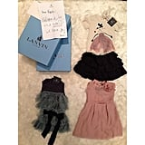 """Kim posted a picture on Instagram after Lanvin's Alber Elbaz gifted their daughter, Nori, three adorable mini Lanvin ensembles, along with a note that read, """"Dear North, Welcome to the world — We love you!"""" That was just one of the gift packages the little one received.  Source: Instagram user kimkardashian"""