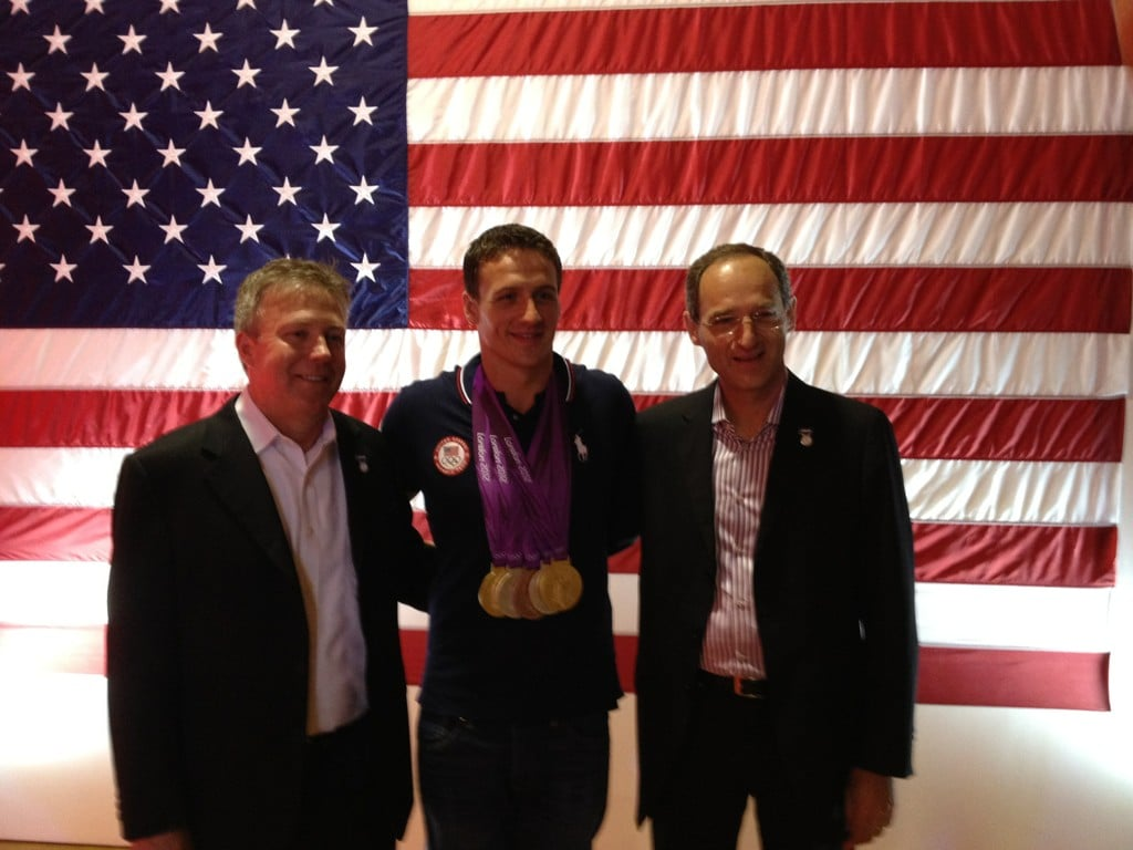 Ryan Lochte posed with some of his sponsors. Source: Twitter user eswright
