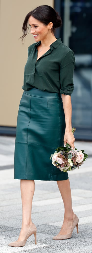 A Green Silk Blouse and Matching Leather Pencil Skirt in Sussex in October 2018