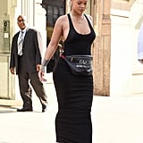 The attention was on Rihanna's Gucci fanny pack in 2017 as she stepped out in a simple black tank dress and sneakers.