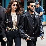 Bella Hadid Lace-Up Top With The Weeknd on Her Birthday