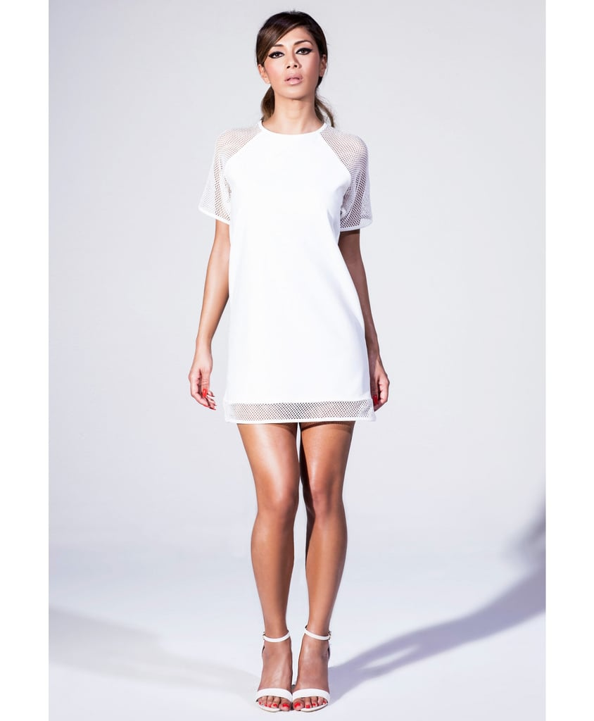 Nicole x Missguided white dress with fishnet panels (£35)
