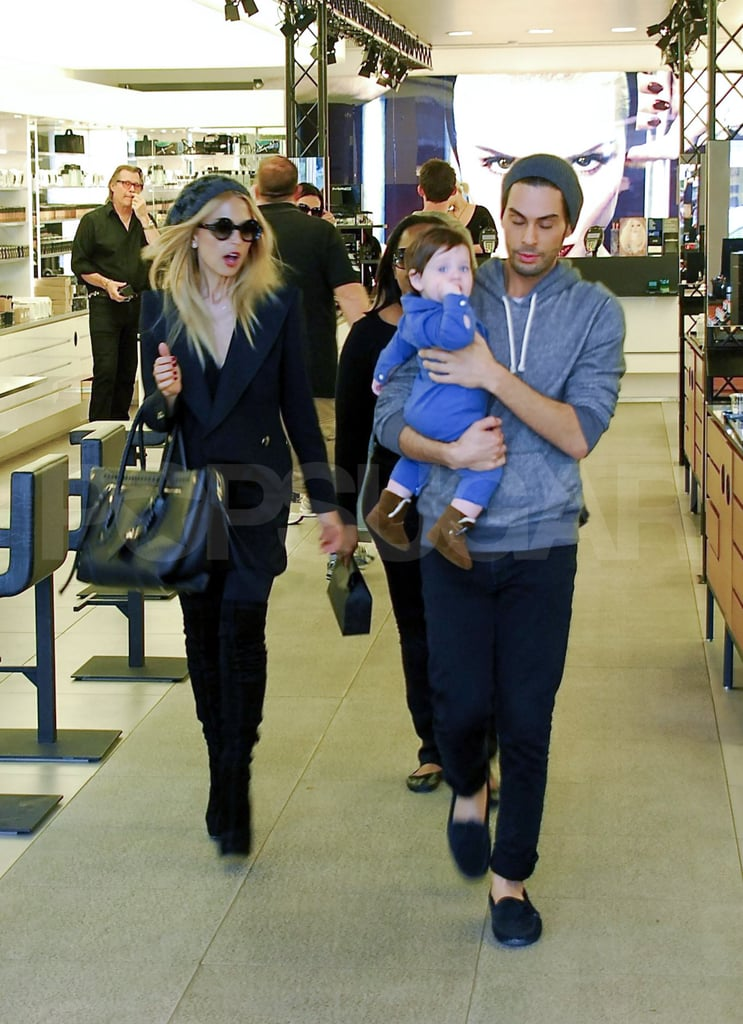 Rachel Zoe and her pal Joey Maalouf went shopping for beauty products yesterday with her little one Skyler Berman. Joey and Rachel have worked together for years, with him as her makeup artist. The retail therapy was Rachel's latest LA outing after she and baby Skyler went out to lunch together Sunday. She wrapped up her weekend in front of the TV, watching the fashion parade on  the SAG Awards red carpet. Rachel weighed in on Twitter about her best-dressed picks, with Emma Stone in McQueen and a Givenchy-clad Zoe Saldana at the top. Now, she's looking forward to a few weeks of travel for the upcoming Fall Fashion Weeks. Rachel Zoe's luggage was the topic of one of her latest tweets, and she showed the enormous amount of packages she's sending ahead of her trip — and it was just the first of two shipments!