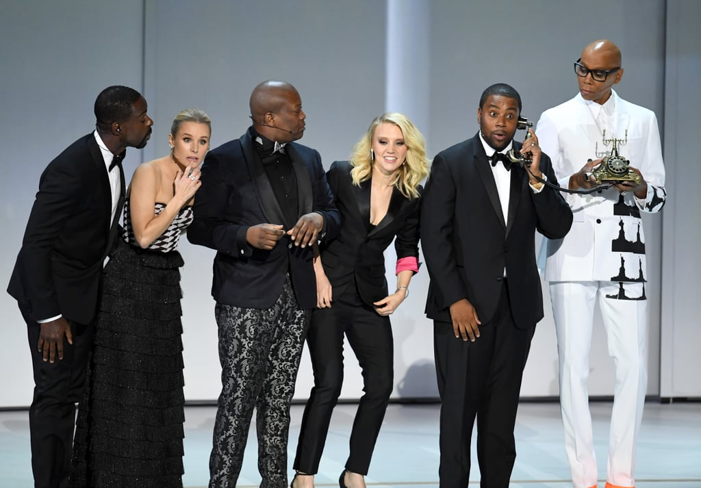 "The Emmys kicked off with one hell of an opening number on Monday night that helped set the tone for the rest of the award show. Saturday Night Live vets Kate McKinnon and Kenan Thompson hit the stage to perform a song called ""We Solved It"" that hilariously (and sarcastically) called out Hollywood's diversity ""fix.""  ""Diversity is not a problem in Hollywood anymore?"" Kate asked, before her costar responded, ""Nope, we solved it!"" They were soon joined by Kristin Bell, Titus Burgess, Sterling K. Brown, and Ru Paul Charles, before Andy Samberg descended from a giant moon to try to be a part of the fun. ""Is there any room in this song for a straight white guy like me?"" he joked, before they kicked him off the stage and John Legend appeared to take it all home with his jaw-dropping vocals. ""We solved it! Congratulations to you and me and me,"" he sang.  Watch it ahead, and keep an eye out for the ""One of Each Dancers"" at the end!      Related:                                                                                                           Presenting the Full List of This Year's Emmy Winners"