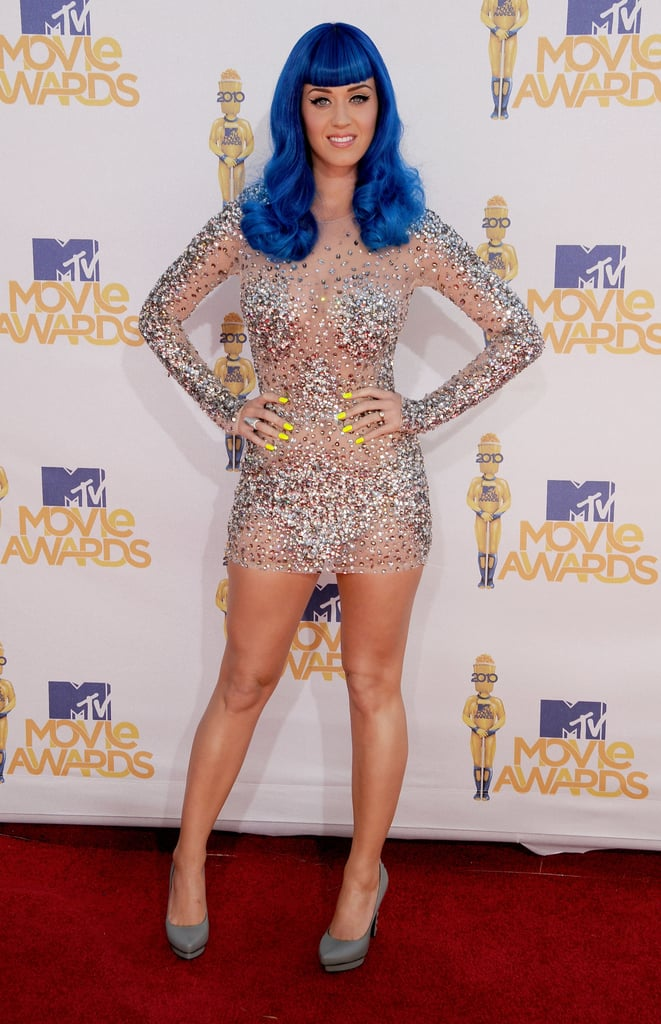 At the 2012 MTV Movie Awards, Perry topped her jewel-encrusted Zuhair Murad mini with brilliant blue locks to secure all eyes on her upon her red carpet arrival.