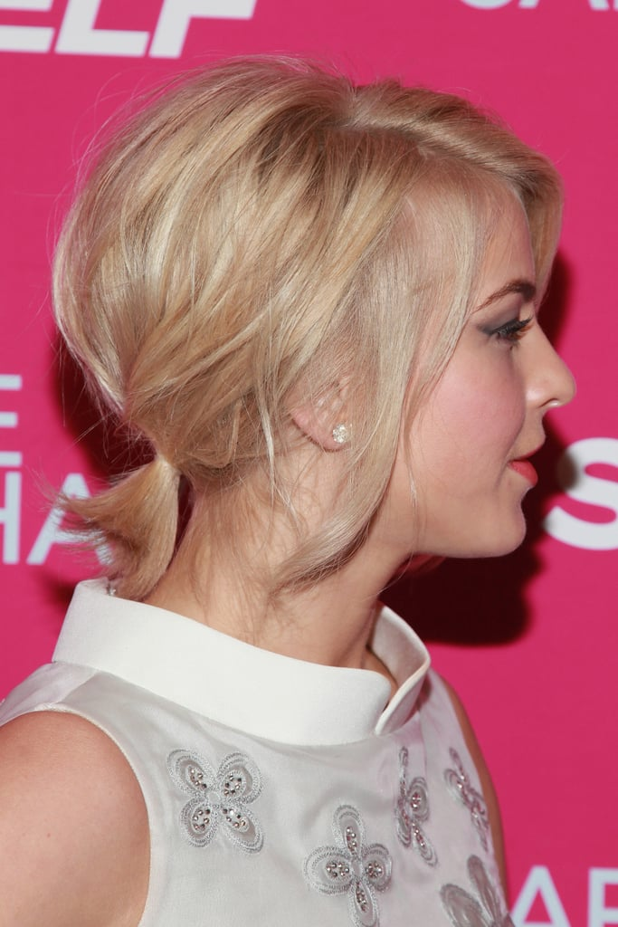 The back of her hair was casual with a low ponytail that had plenty of volume at the crown.