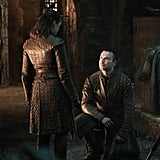"""On Gendry's proposal to Arya: """"Gendry just got a bit excited, didn't he? He'd just been made a lord — he'd known for a while now where he's come from but the recognition of that by someone in authority has given him an ability to find a place in the world that I think he's been searching for his entire life. He just got a bit gassed and asked someone to marry him and she quite rightly told him where to go. What a stupid question! I think he knows deep down in his heart of hearts there is no way Arya will ever be anyone's lady."""""""