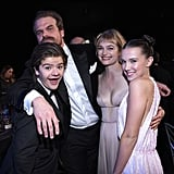 Pictured: Gaten Matarazzo, David Harbour, Alison Sudol, and Millie Bobby Brown