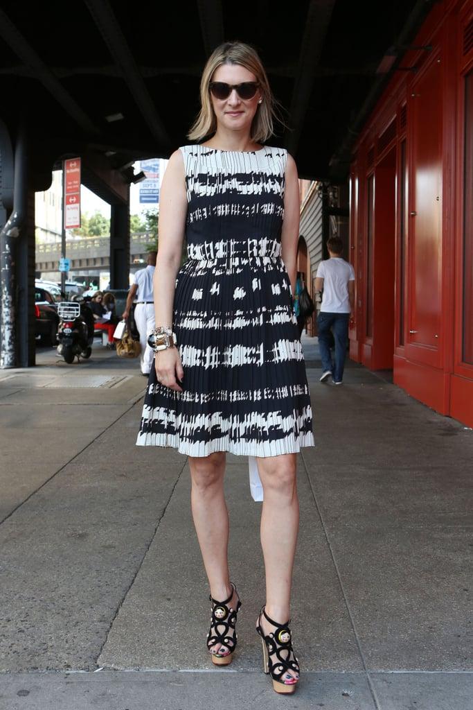 Bold print-meets-bold heels — win, win.