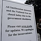 In Washington DC, a sign was put up to say that the Smithsonian museums and the National Zoo were closed because of the shutdown.