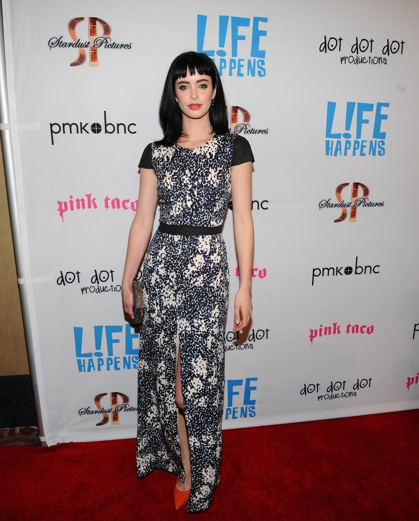Krysten Ritter in a black-and-white printed dress at the premiere of Life Happens.