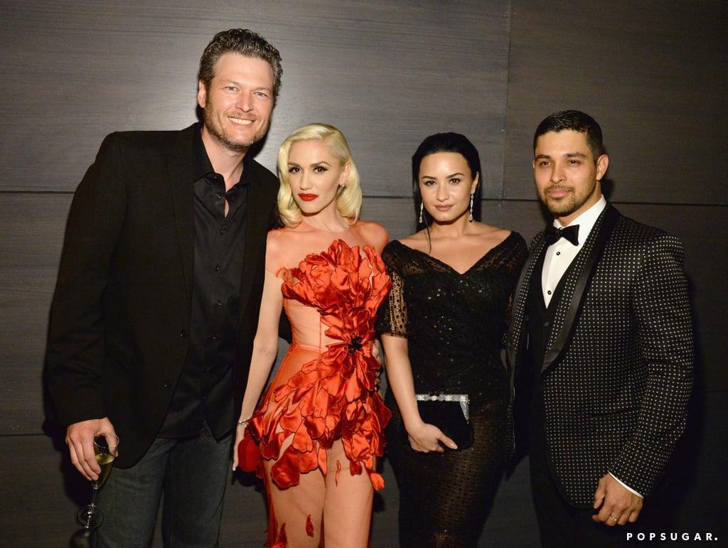 Pictured: Gwen Stefani, Demi Lovato, Wilmer Valderrama, and Blake Shelton