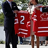 """The """"Cambridges"""" were given matching hockey jerseys in Yellowknife, Northwest Territories, Canada."""
