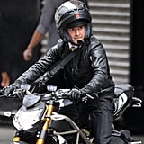 Shia rode a motorcycle on the streets of NYC while shooting scenes for Wall Street: Money Never Sleeps in September 2009.