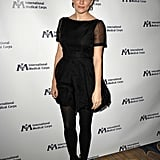 For the 2011 International Medical Corps Awards, the blonde beauty stepped out in a black Twenty8Twelve dress — complete with sheer short sleeves — and black tights. Her small hoop earrings and slicked-back updo provided a slightly retro feel to the finished look.