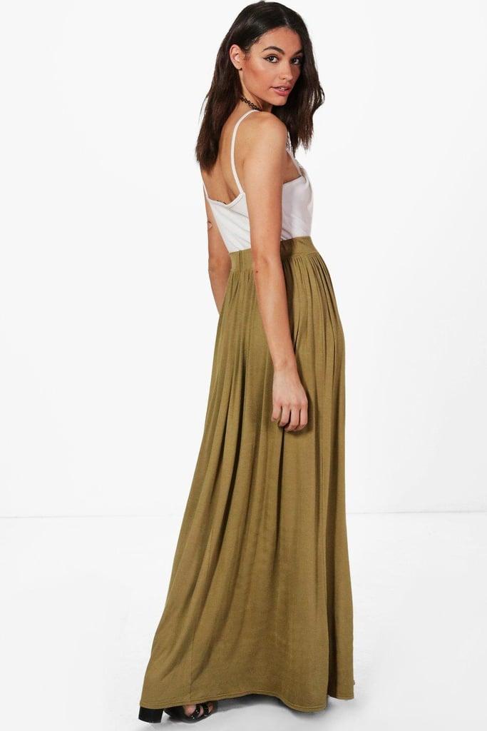 Boohoo Sophia Floor Sweeping Jersey Maxi Skirt