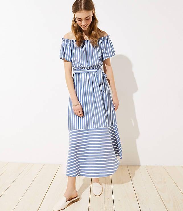 417bf1171 LOFT Beach Mixed Stripe Off The Shoulder Dress