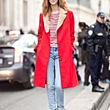Cheery outerwear (and color-coordinated stripes) made us take notice of this laid-back denim look. Source: Adam Katz Sinding