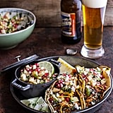 Spicy Beer-Braised Chicken Enchilada Tacos With Sweet Chili Apple-Pomegranate Salsa