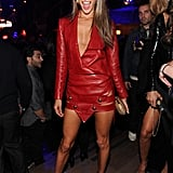 Alessandra Ambrosio was the lady in red — red leather, to be specific.